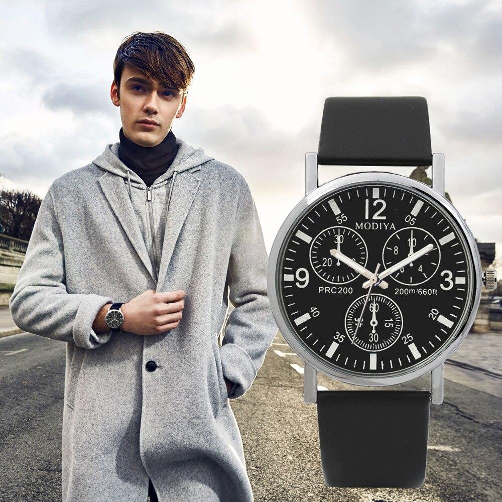Diseño elegante Simple de negocios relojes de tres ojos reloj de cuarzo para hombre correa de vidrio azul de moda reloj de lujo de gran esfera regalo masculino # D
