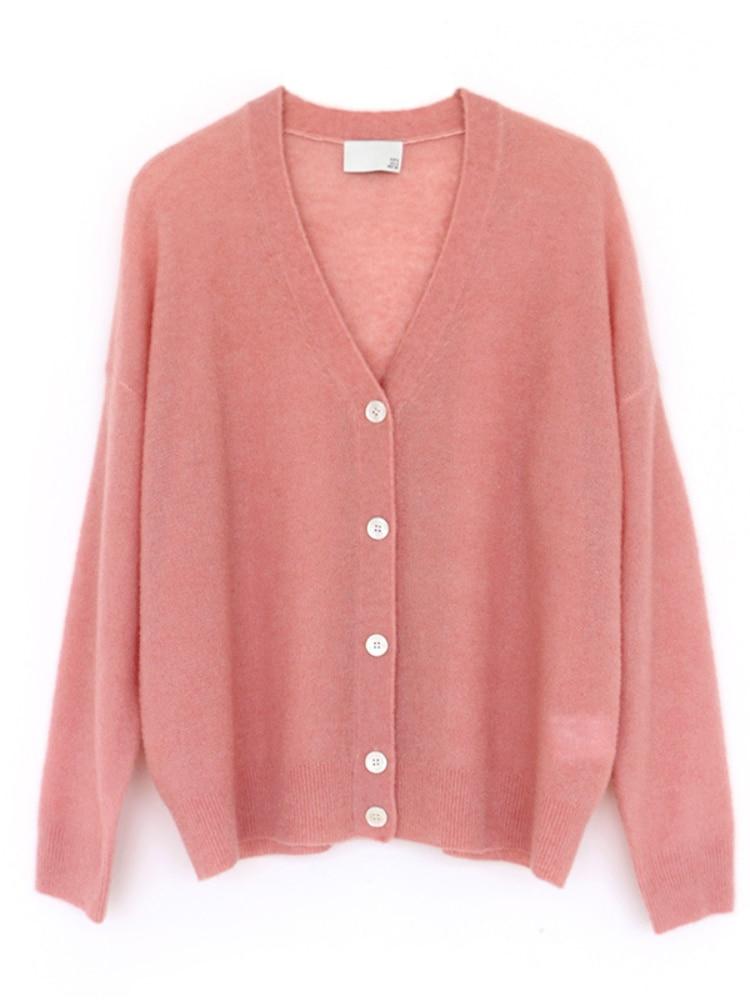 SHUCHAN New 2021 Sutumn Winter SWEATER WOMEN Knitted Cardigan 69% Wool High Street  V-Neck Loose Tops Keep Warm enlarge