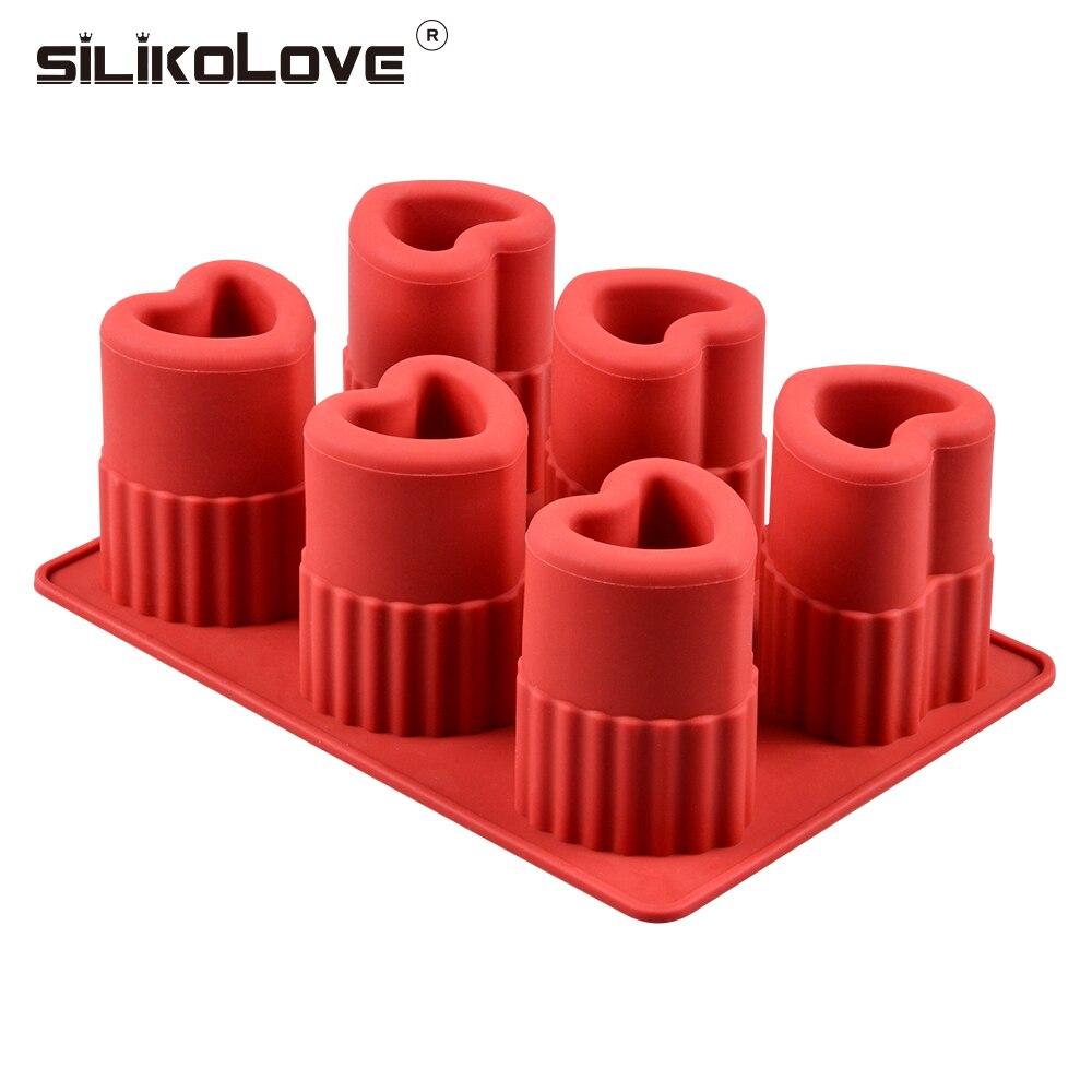 SILIKOLOVE 6 cavidades en forma de corazón DIY silicona cubito de hielo bandeja molde hace gafas de tiro verano herramienta de beber CE/EU libre de BPA