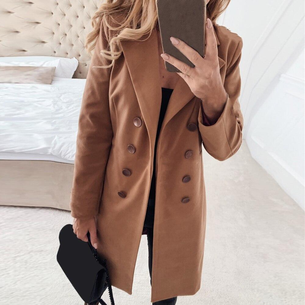 women long sleeve winter wool coat women Europe style plus size ladies autumn new Slim long woolen coats casaco feminino