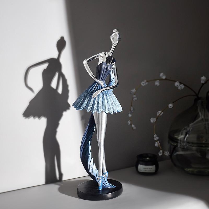 Sala de Estar Decoração para Casa Ballet Menina Estatueta Arte Abstrata Bailarina Resina Escultura tv Gabinete Antigo Acessórios Artesanato