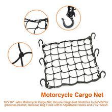 """Universele 6 Haken Motorcycle Cargo Bagage Netto Zak Motorhelm Houd Brandstoftank Bagage Organizer 16 """"x 16"""""""
