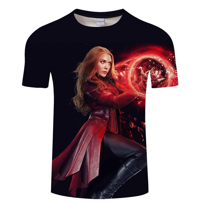 Camiseta 3D con estampado de superhéroes a la moda, camisetas con diseño de bruja escarlata para hombre y mujer, camisetas de manga corta Wanda para hombre, envío directo