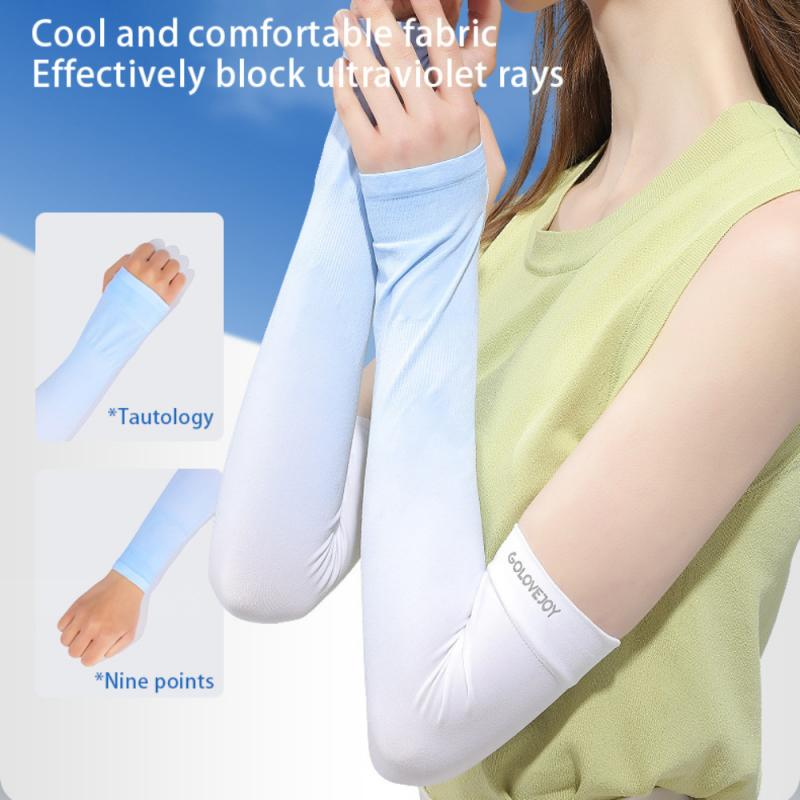 Summer Ice Silk Sunscreen Sleeve UPF50+ Elastic Nylon Breathable Quick Drying Driving Gloves Arm Sleeve Bike Fitness Equipment