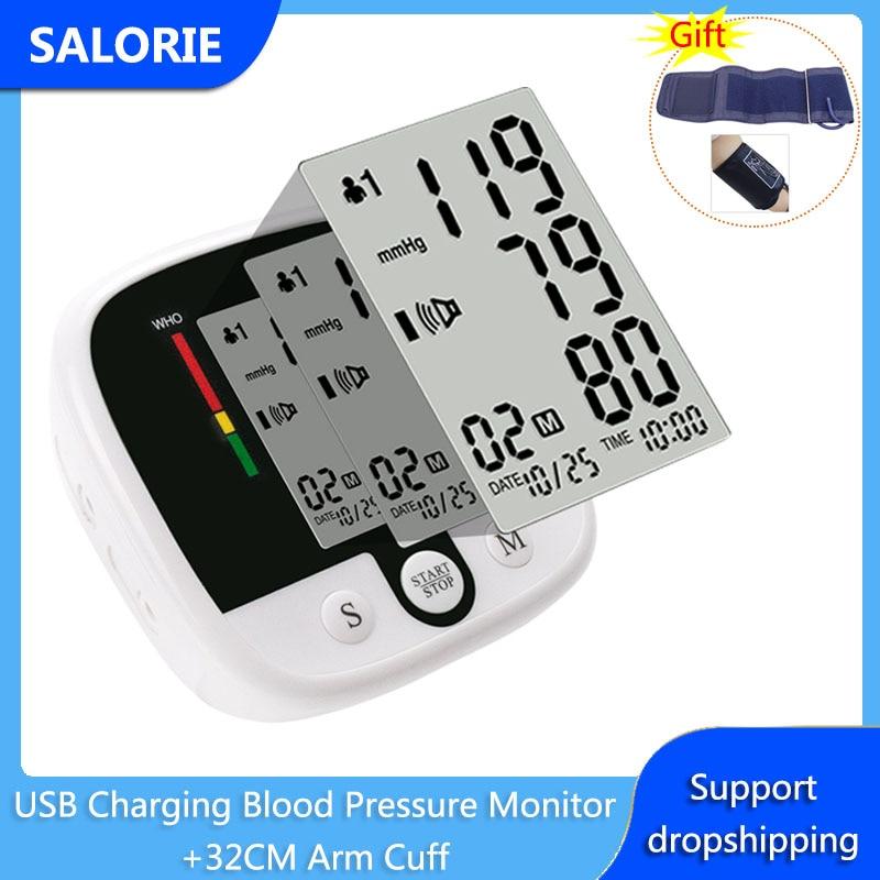 Sphygmomanomètre de poignet de compteur dimpulsion électronique de pression artérielle de charge dusb tonomètre de fréquence de battement de coeur avec des soins de santé de brassard