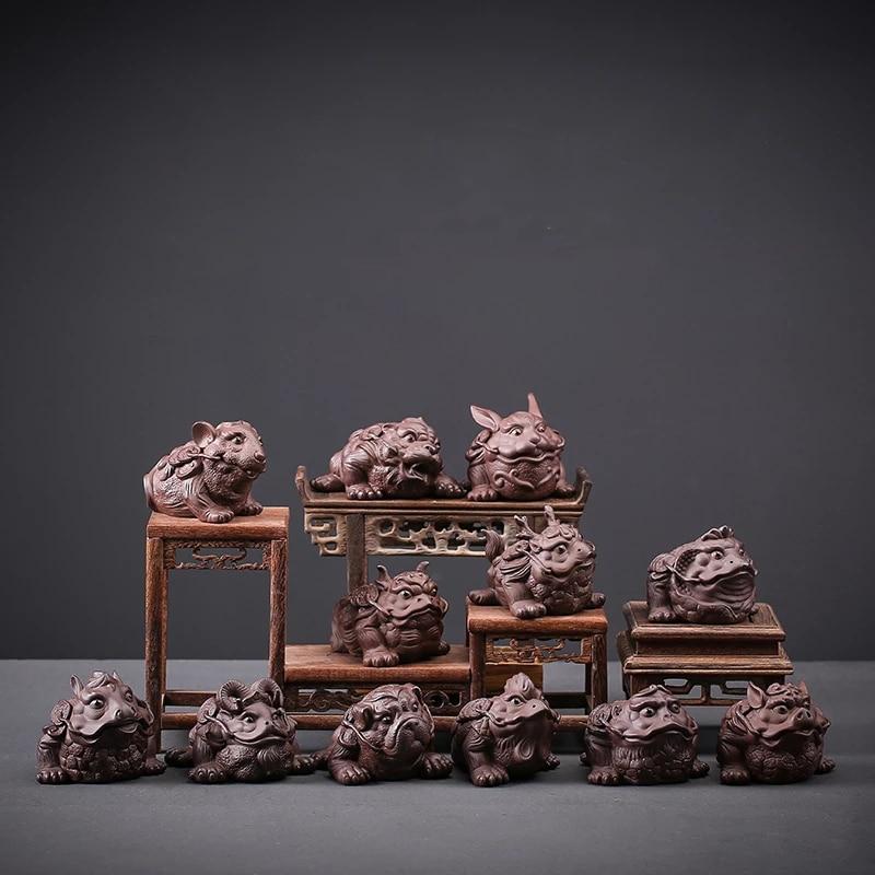 shozo sato tea ceremony Ceramic Tea Pet Ornaments, Chinese Zodiac Golden Toad Tea Set, Tea Ceremony Zero Match Tea Play Tea Set Accessories