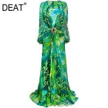 DEAT 2020 nouveau été et automne col en v taille haute lanterne manches parole longueur vert imprimé longue robe femme vestido WN37506XL