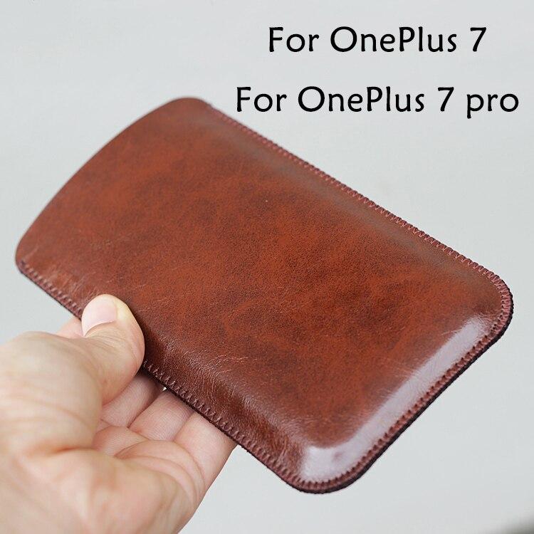 OnePlus7 Universal Fillet holster teléfono Funda de cuero recta estilo retro simple para OnePlus 7 pro bolsa 1 + 7 pro