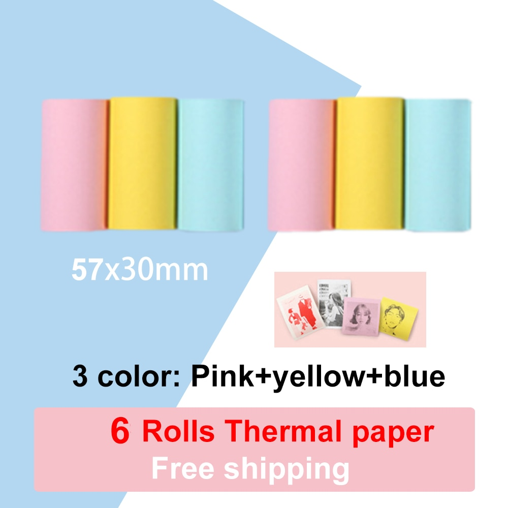 PeriPage Thermal Paper Receipt Paper For M58D (6 Rolls Per Parcel, Pink and Yellow and Blue)