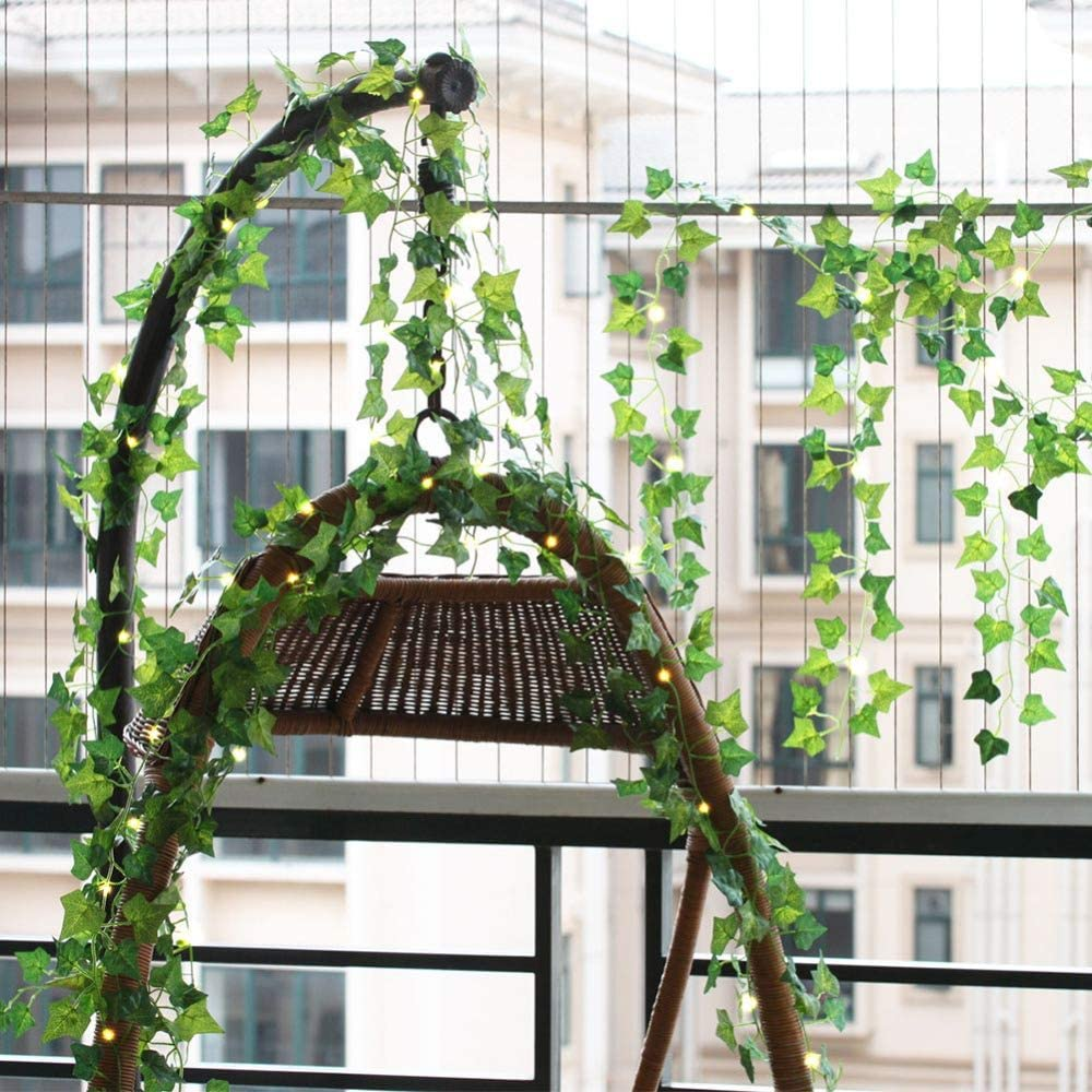 2m Party Decorations Leaf Ivy String Lights Vine Garland Wreath Hanging with Lamp Fairy Night Light Home Wedding Decoration