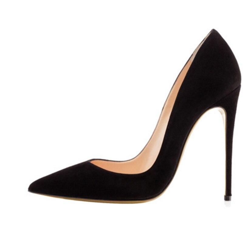 2020 Hot Sale Faux Black Suede Ladies Pumps Sexy Party Stiletto Pointy Toe Women Fashion Slip On Shallow Pumps Size 42