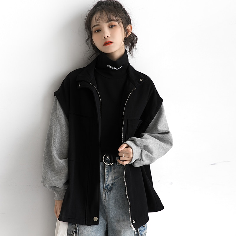 Zisuo 2021 Spring and Autumn New Coat Women's Korean-Style Loose Thickened Color Matching Quilted Ba