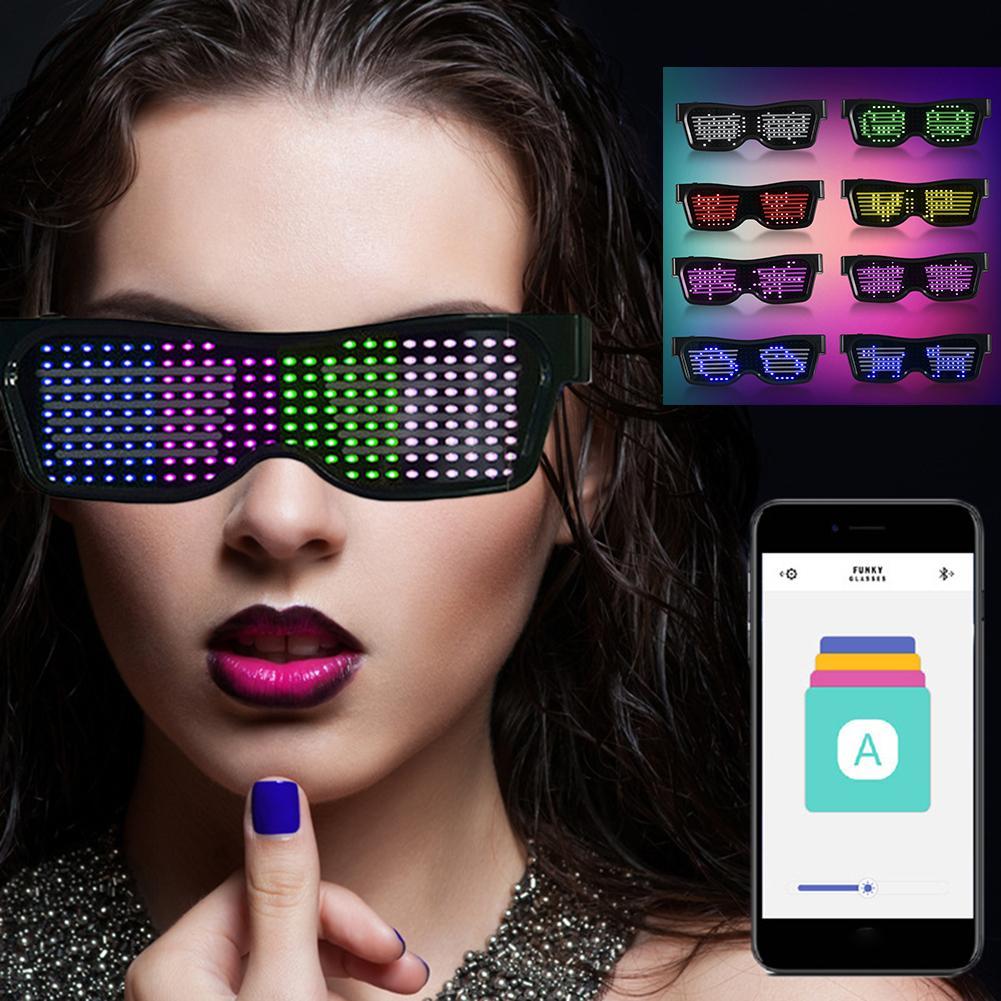 Copas LED de fiesta, discoteca, Bar de vino, parpadeantes dinámicos, gafas LED, Raves, Bluetooth, aplicación de texto, luz personalizada, carga USB de cristal