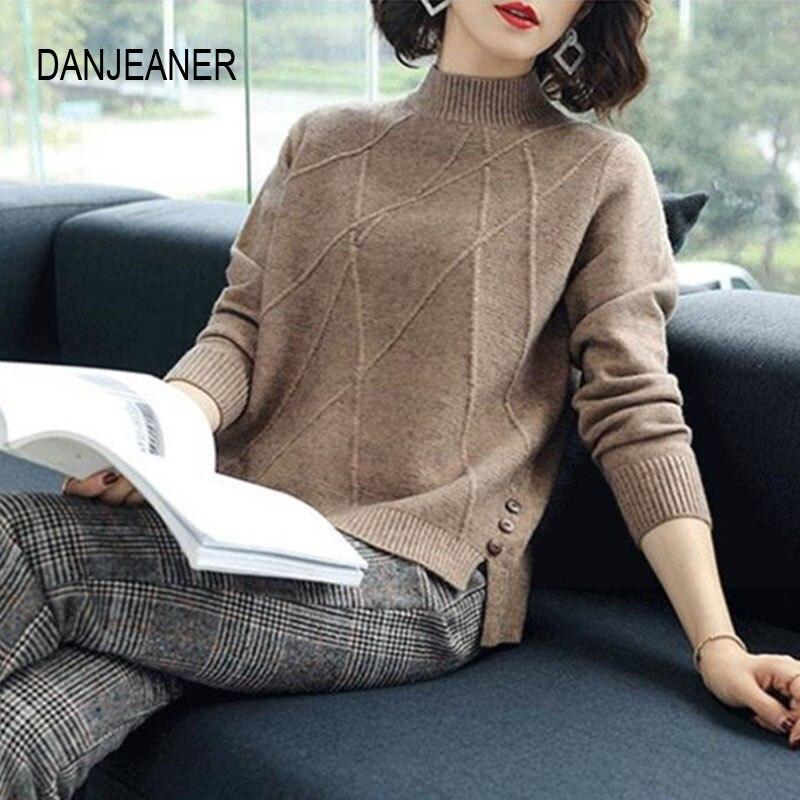 Danjeaner outono inverno feminino meia gola alta camisola senhora escritório sólido casual malha pulôver básico malhas elegantes jumpers
