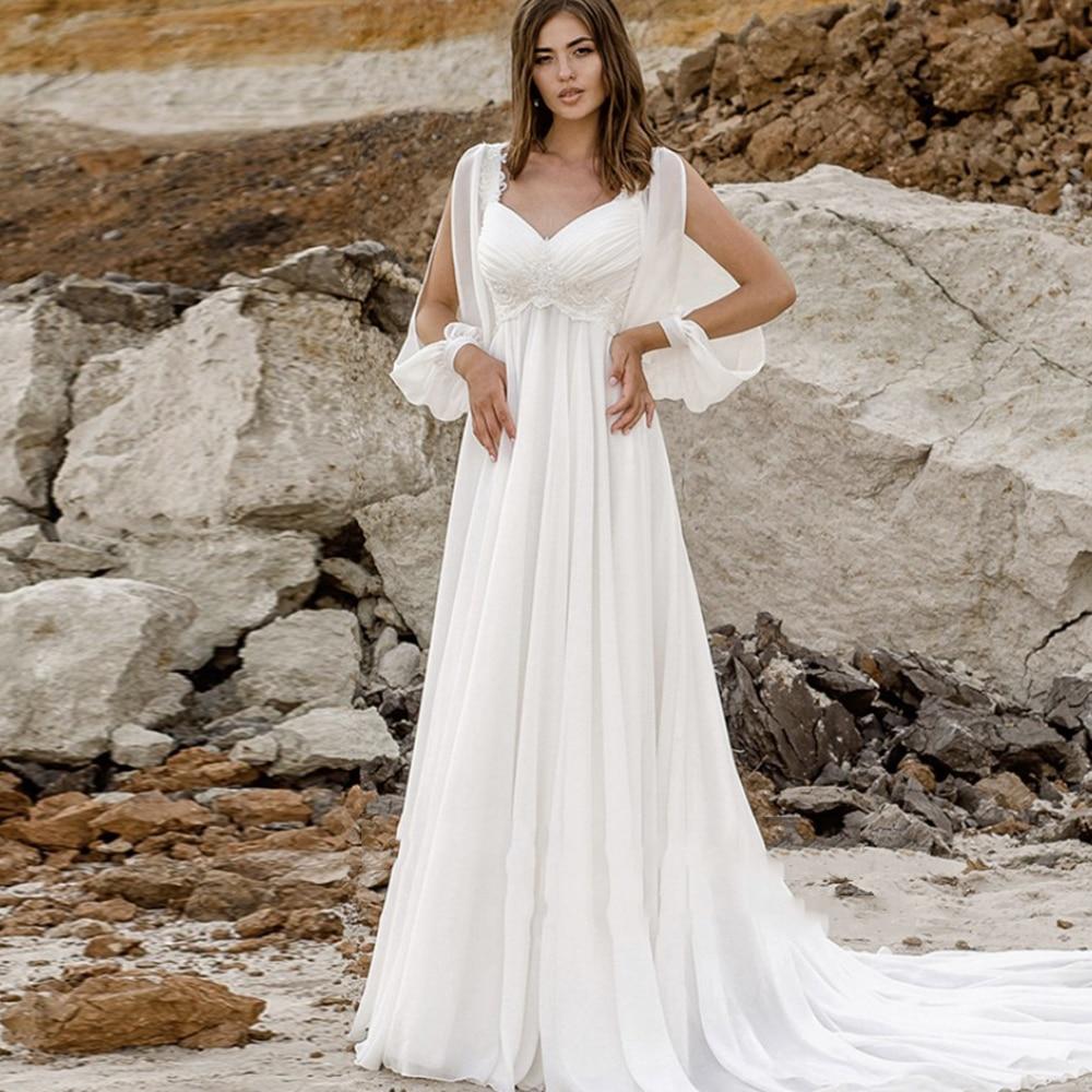 Promo A-Line V-Neck Chiffon Wedding Dress Lace Up Back Long Sleeves Sweep Train Bridal Gowns 2021 Vestido De Noiva