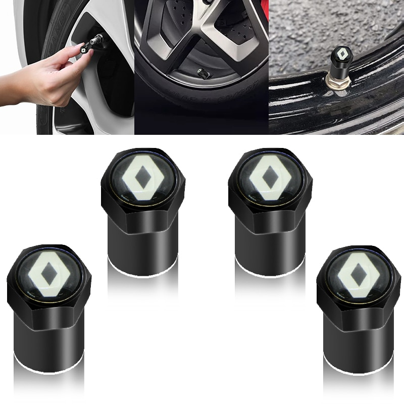 4 Uds piezas para neumáticos de ruedas tapones de cubierta de vástago de válvula de neumático de la rueda de tapa de válvula para Renault Megane 2 3 Duster Logan Clio Laguna 2 Captur