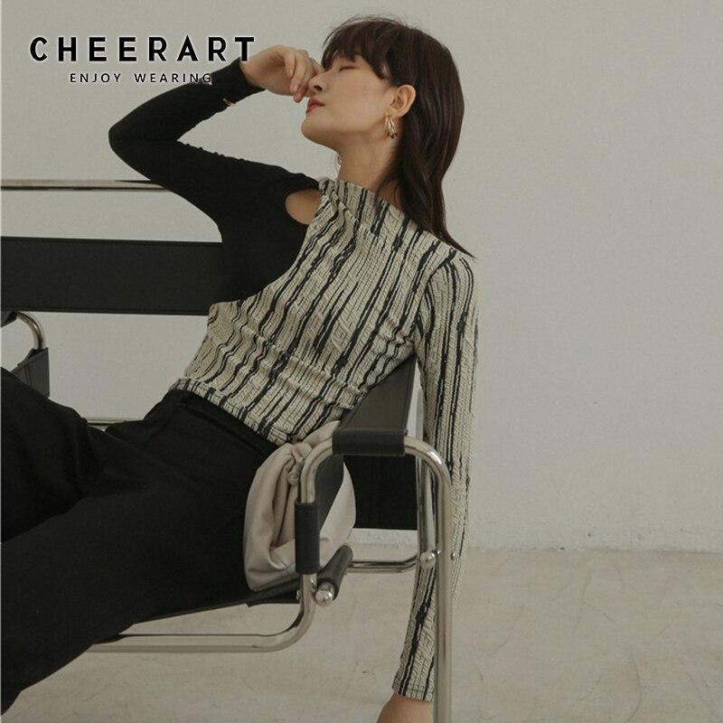 CHEERART Designer T Shirt For Women Sexy Hollow-Out Ladies T Shirt Patchwork Long Sleeve Tee Shirt Femme Top Underwear