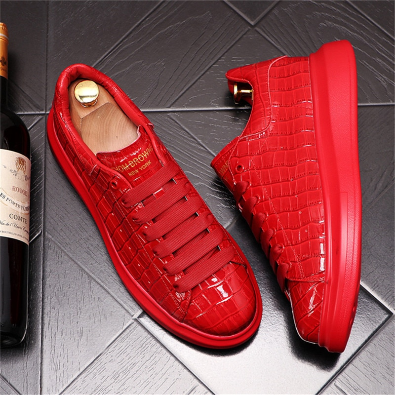 Red Hip-Hop Punk Men Sneakers Web Celebrity Thick Bottom Platform Shoes Male Height Increasing Flats
