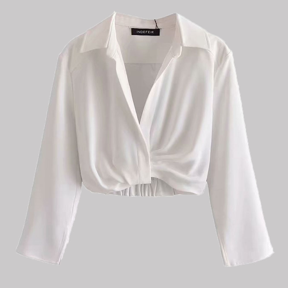 Fashion Ladies Tops White Autumn 2021 Turndown Collar Pleated Pullover Long-sleeved Personality Bott