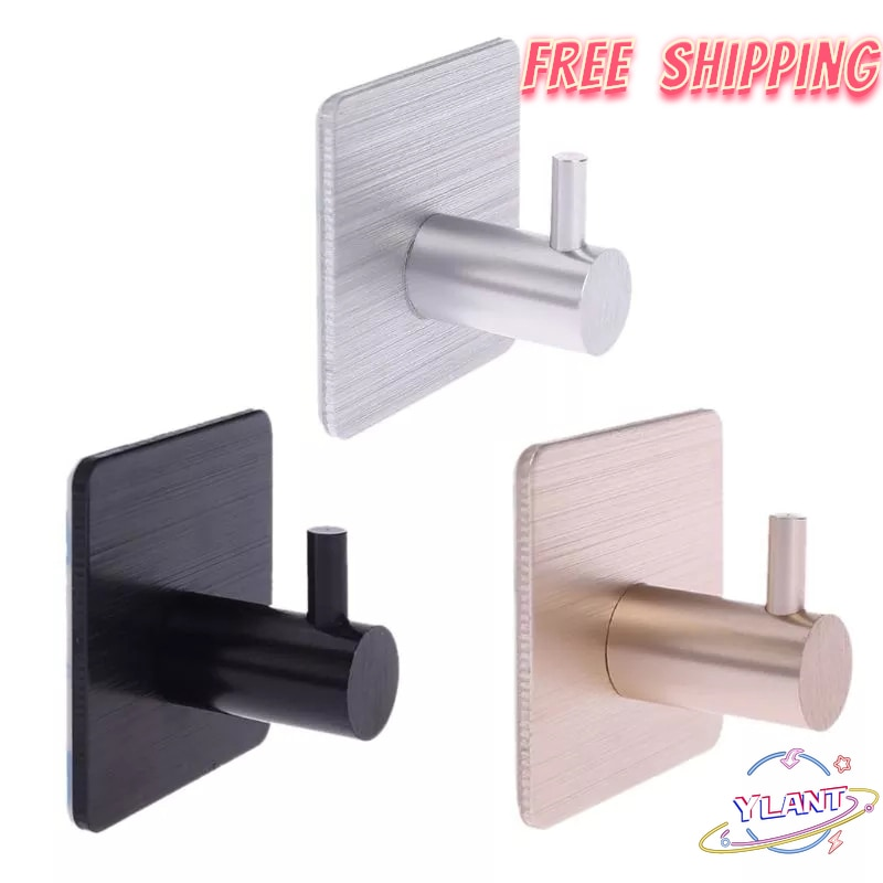 Gancho de aluminio duradero autoadhesivo para puerta y pared del hogar, perchero...
