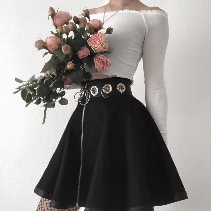 Юбка женская трапециевидная выше колена, юбка-Мини Трапеция в готическом стиле, однотонная трапециевидная мини-юбка большого размера