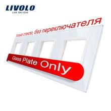 Livolo Luxe White Crystal Glass Switch Panel, 294 Mm * 80 Mm, Eu Standaard, quadruple Glass Panel Voor Muur Socket C7-4SR-11, Geen Logo