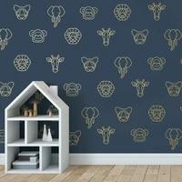 20pcs geometric lion elephant tiger giraffe monkey animal wall sticker kids room jungle animal woodland wall decals bedroom viny