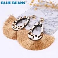 bohemia leopard tassel earrings for women drop earrings leopard new fashion vintage leather geometric round fringe jewelry party