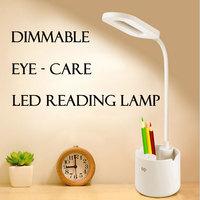 Dimmable Desk Lamp USB Pen Holder LED Reading Light Rechargeable Eye-care Table Lights Student Kids Study Light Bedroom Lighting