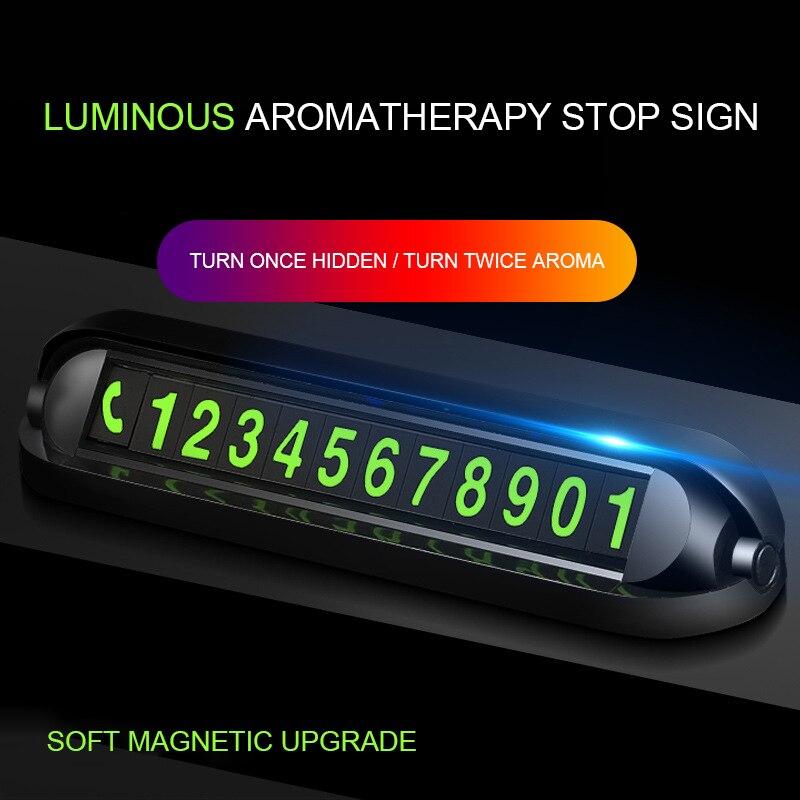Tarjeta de número de teléfono Hideable de aromaterapia luminosa para decoración de coches Placa de tarjeta de aparcamiento temporal NÚMERO DE TELÉFONO Tarjeta de coche pegatinas