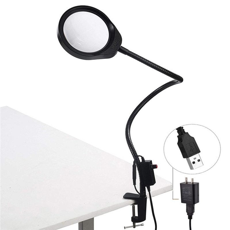 Купить с кэшбэком 10x20x Lens Desk Clip-on Magnifying Glass Lamp Lighted Illuminated 10X Loupe Optical Magnifier for PCB Inspection, Beauty
