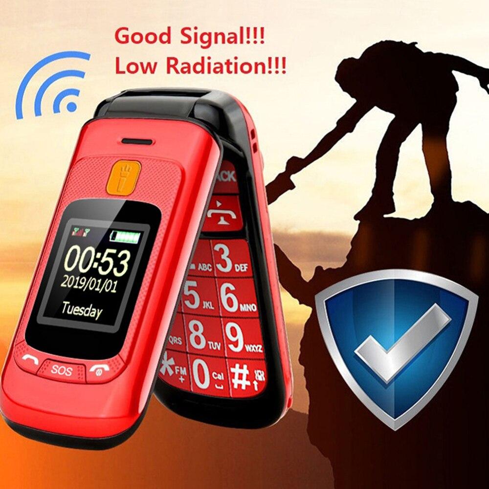 للطي الهاتف المحمول شاشة مزدوجة عرض الوجه غطاء الهاتف المزدوج سيم مكالمة الطوارئ مصباح يدوي مفتاح كبير بصوت عال FM المسنين
