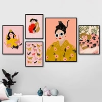 fashion glasses girl lover animals wall art canvas painting nordic posters and prints wall pictures for girl room bedroom decor