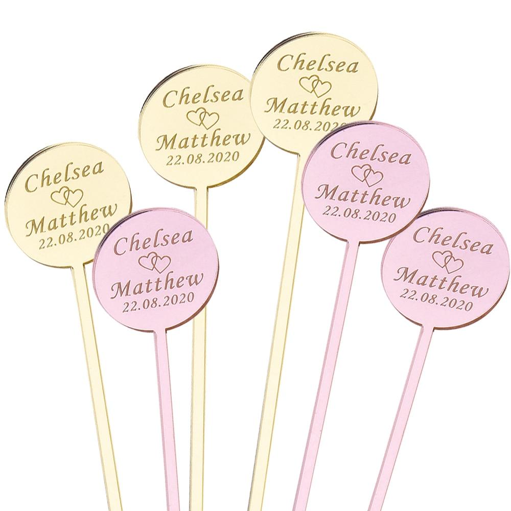 50 pçs personalizado bebida agitadores círculo personalizado gravado agitadores acrílicos swizzle varas tabela cartão de casamento bebê mostrar festa decoração