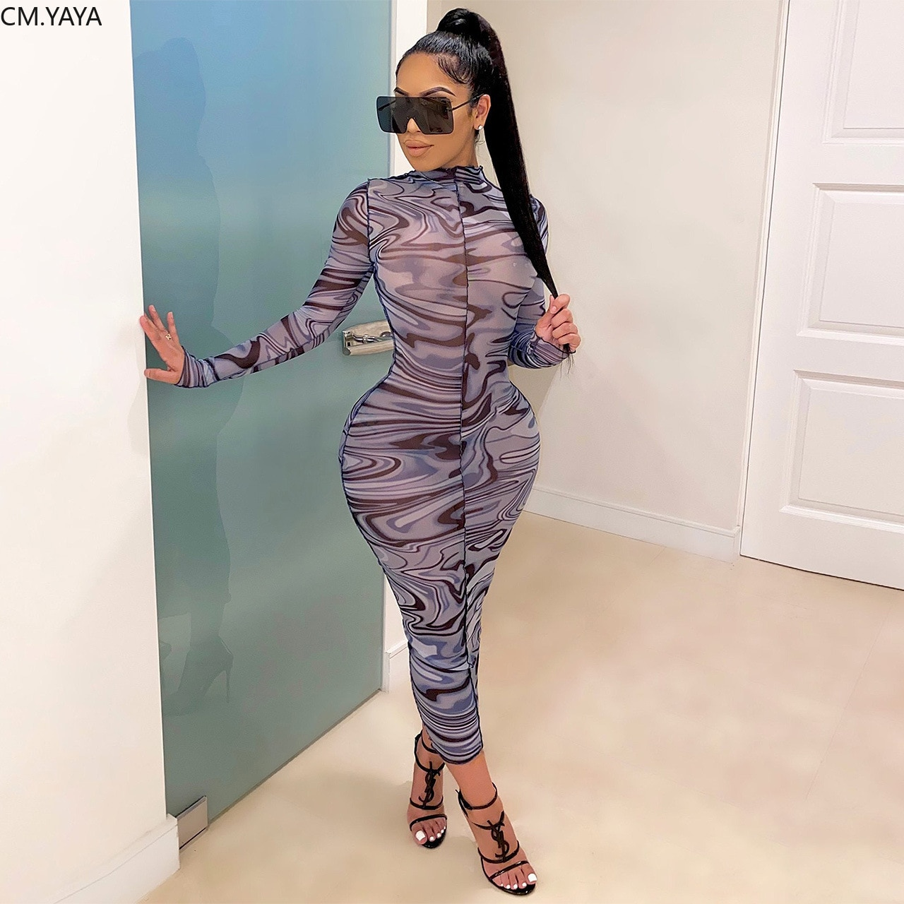 Cm. yaya feminino maxi vestido onda listrado impressão manga longa cintura alta sexy clube festa lápis malha ver embora vestidos