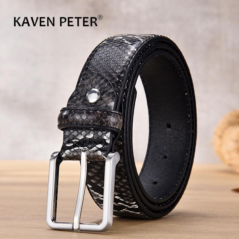 Fashion Desinger Belts For Men Luxury Snake Pattern Men's Accessories Trouser Leather Western Belt Strap For Boy Buckle Metal fashionable rhombic pattern buckle faux leather belt for men