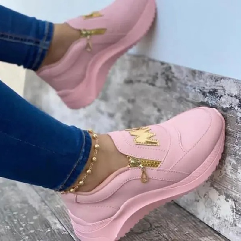 2021 Women Chunky Sneakers Solid Color Platform Shoes Thick Bottom Zipper Women's Vulcanized Shoes S