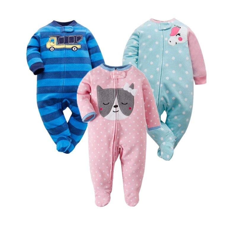 2019, peleles de vellón con cremallera para bebés recién nacidos, peleles de manga larga para bebés, ropa de una pieza para chico, Tops de Catton, pijamas para bebés
