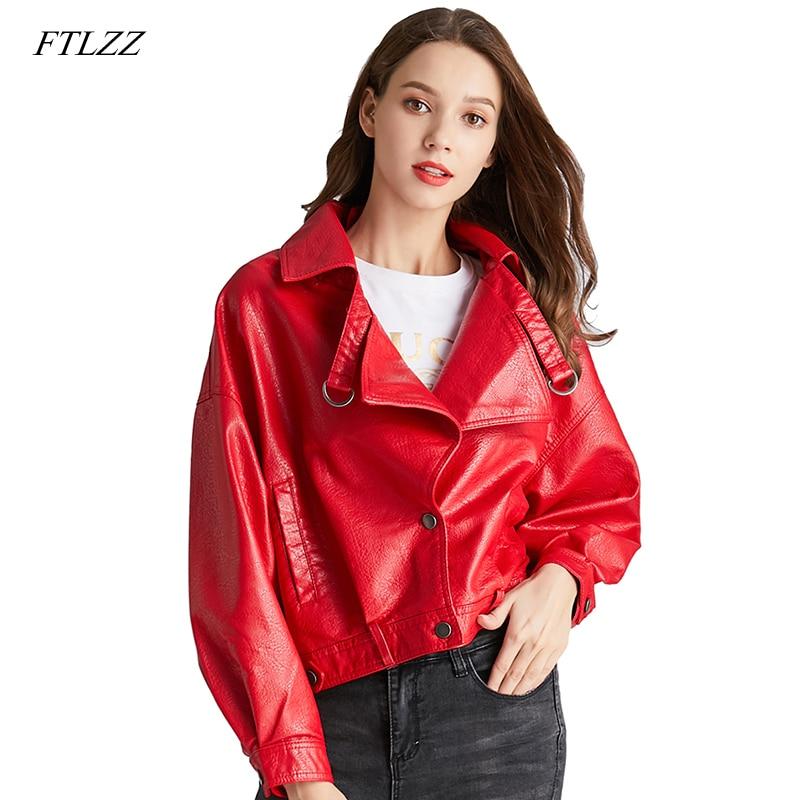 FTLZZ-جاكيت جلد صناعي جديد ، للسيدات, جاكيت بأكمام الخفاش ، معطف قديم ، سحاب قصير ، محرك PU ، سترة حمراء ، الخريف ، ملابس الشارع