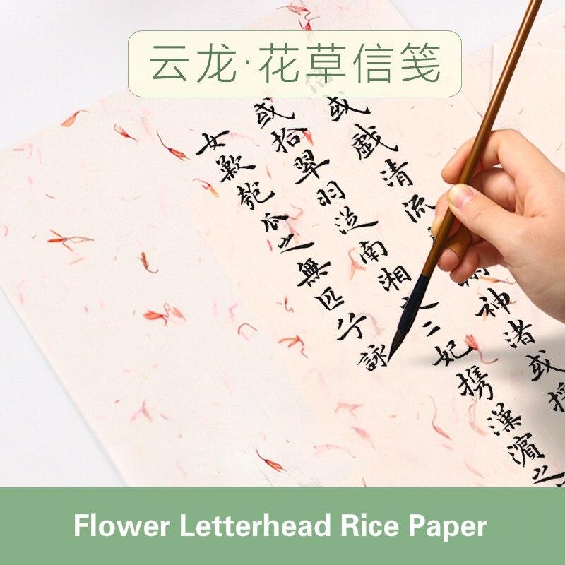 Yunlong Flower & Tea Leaf Rice Paper Letterhead Calligraphy Letterhead Calligraphy Writing Paper Antique Stationery Xuan Paper