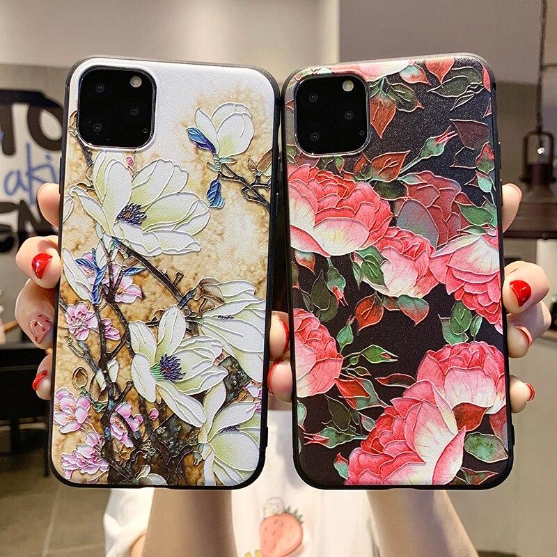 3D relieve flor hoja funda de teléfono para iPhone 11 Pro Max X XS Max XR pluma carcasa para iPhone 6 6s 7 8 Plus funda trasera suave TPU