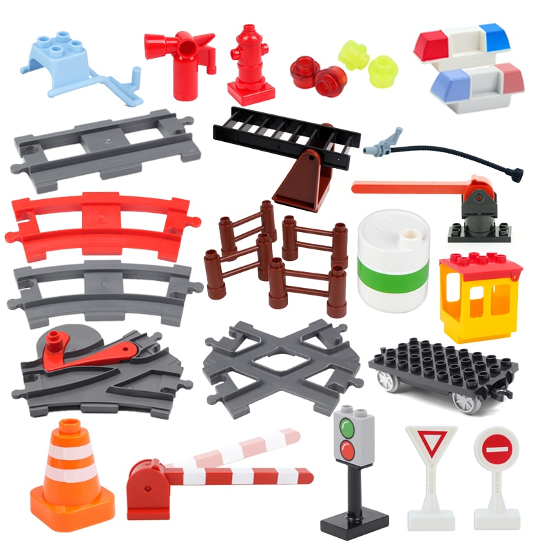 Big Building Blocks City Traffic Construction Accessories Compatible Duplos Train Track Home Interac