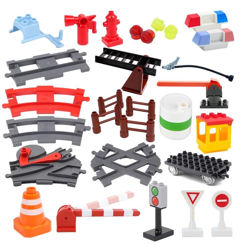 Blocos de construção grande cidade tráfego construção acessórios compatíveis duplos train track casa interativo montar brinquedos para crianças