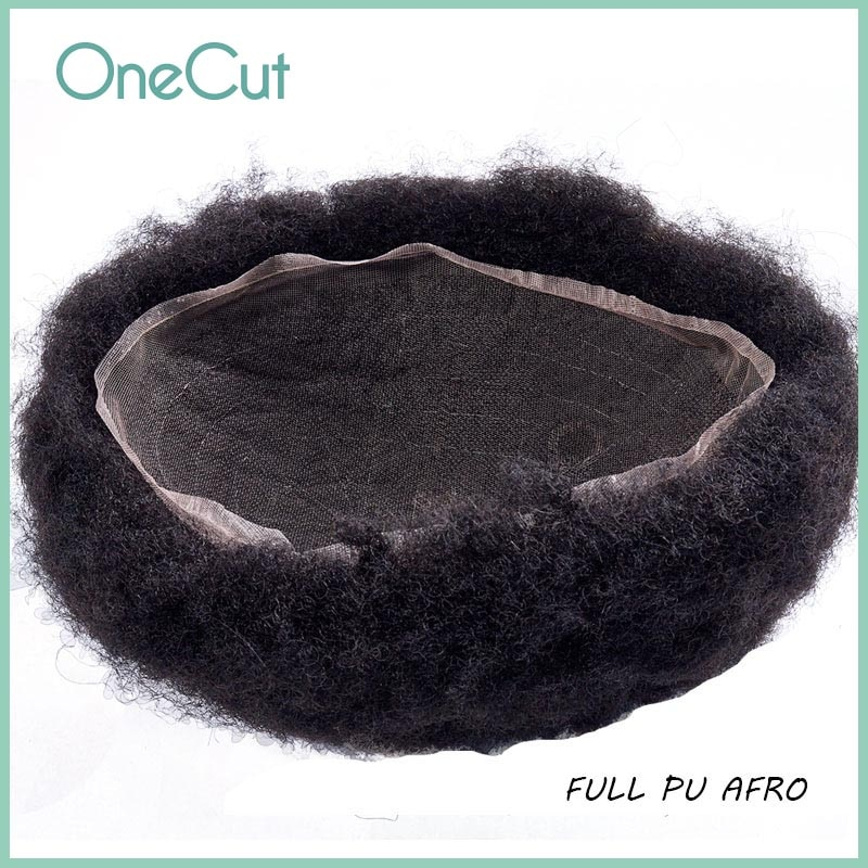 AFRO Men Toupee PU Base Curly Human Hair Kinky Wigs Fleeciness Realistic Natural Black Simulate Remy Hair Replacement System