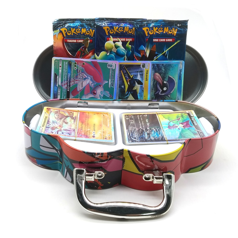 102pcs/set Pokemon Portable Tin Box TAKARA TOMY Battle Toys Hobbies Hobby Collectibles Game Collection Anime Cards For Children