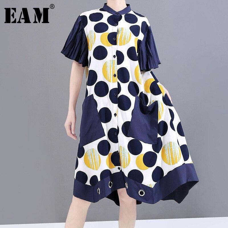 [EAM] Vestido camisero de talla grande, Irregular, estampado a lunares, con cuello alto nueva, manga corta, corte holgado, a la moda, primavera-verano, 2020 11w181