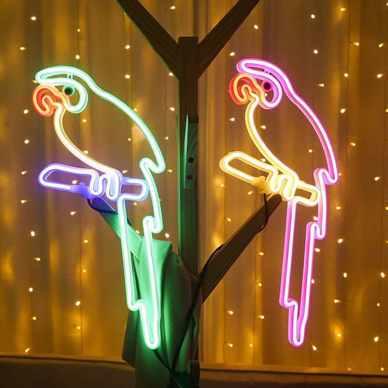 Led الببغاء النيون ضوء وامض الطيور مصابيح الاتحاد الأوروبي التوصيل جدار الفن ديكو النيون تسجيل مصباح للمنزل غرفة الاطفال الديكور أضواء ليلية
