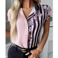 women casual summer blouse floral striped print colorblock shirt