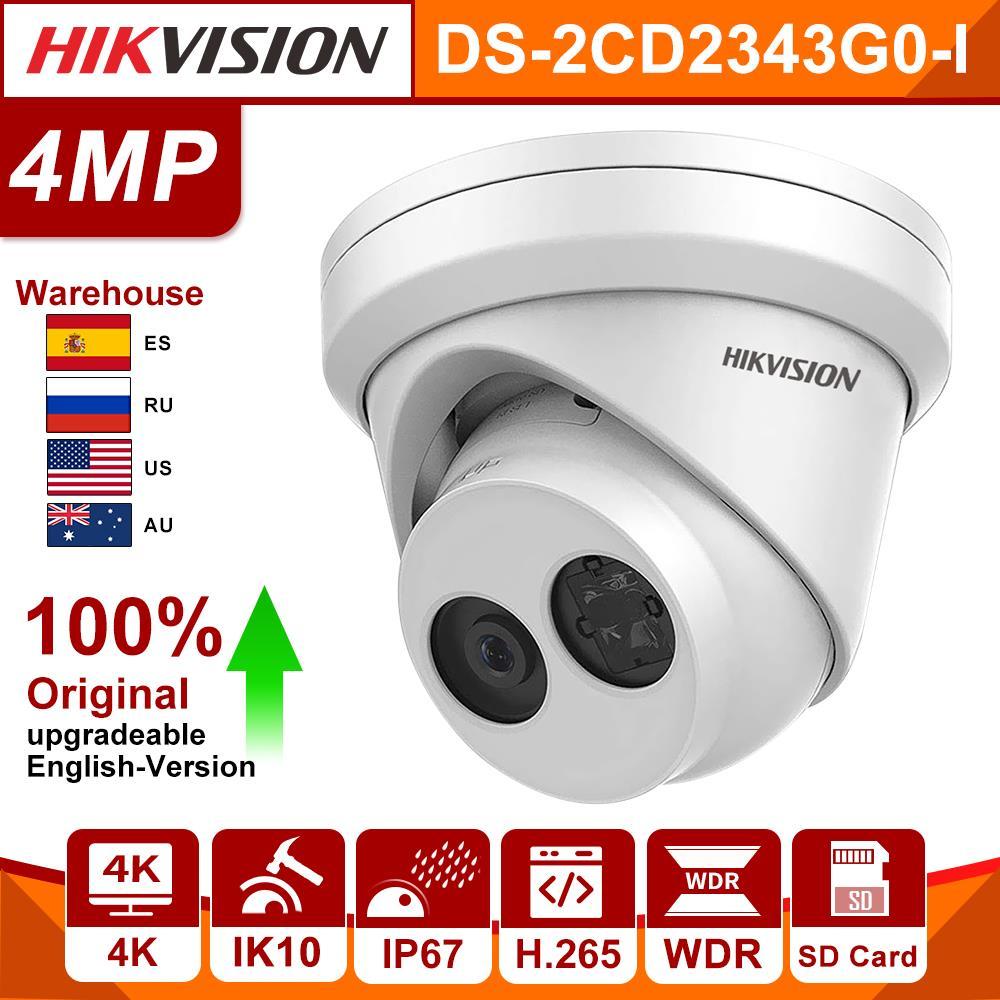 Hikvision Original 4MP cámara CCTV IP DS-2CD2343G0-I cámara de seguridad POE IR 30m fijo bala cámara de red IP67