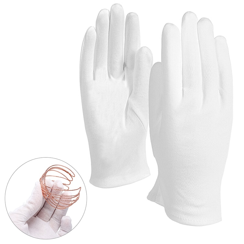 8PCS= 4Pairs White Cotton Gloves Soft Thin Coin Jewelry Inspection Work Gloves
